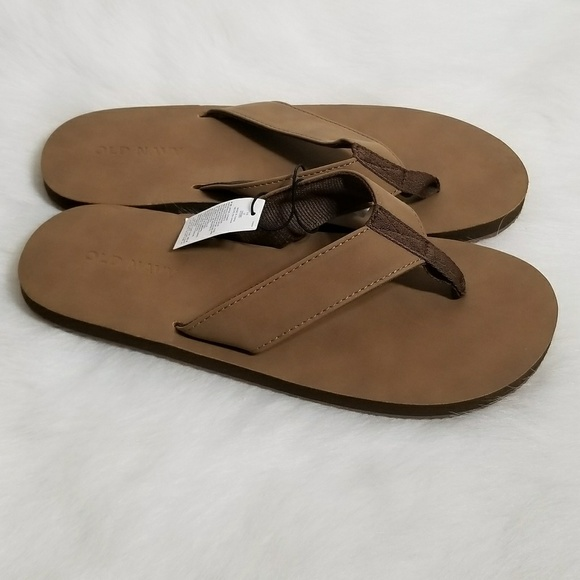 cheap for sale top style offer Old Navy Mens Flip Flops Soft Leather Light Brown NWT